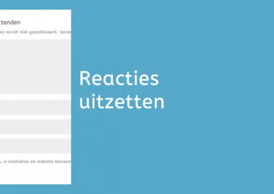 Reacties op je WordPress blog uitzetten